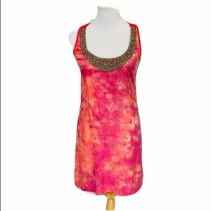 {GRAHAM & SPENCER} Pink Silk Necklace Dress